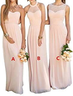 cacd1c6318f8 XJLY Lovelybride Pink A Line Long Chiffon Prom Bridesmaid Dress Wedding  Party Dress