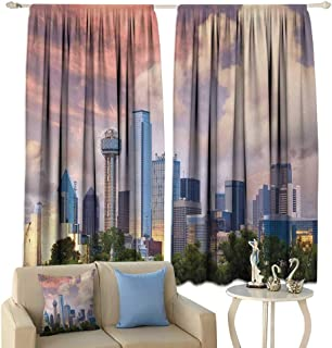 HoBeauty United States, Window Curtain Fabric, Dallas City Skyline at Sunset Clouds Texas Highrise Skyscrapers Landmark, Drapes for Living Room,(W72 x L72 Inch, Multicolor