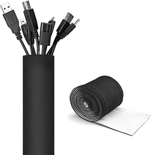 "JOTO 130"" Cable Management Sleeve, Cuttable Neoprene Cord Management Organizer System, Flexible Cable wrap Cover Wire..."