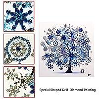 5Dダイヤモンドがセット絵画、DIY特殊形状ダイヤモンド刺繍、リビングルームのベッドルームのためのアートワークシーズンツリーフラワー(2個),Winter