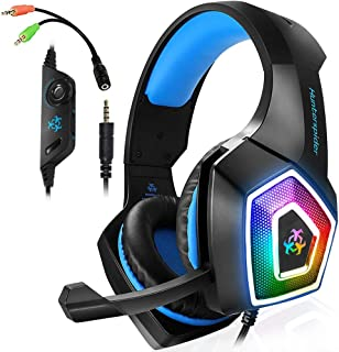 Gaming Headset with Mic LED Light On Ear Gaming Headphone PS4,3.5mm Wired Gaming Headset for PC Mac Laptop Gamer Headphone...