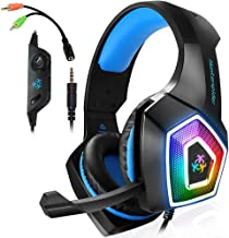 AIBOONDEE PS4 Gaming Headset LED Light Over-Ear Headphone with Mic for PC Mac Laptop..