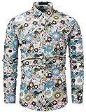 fohemr Funky Chemise Homme coloré Fleur imprimé Casual Manches Longues Hawaïenne Shirt Beige XX-Large