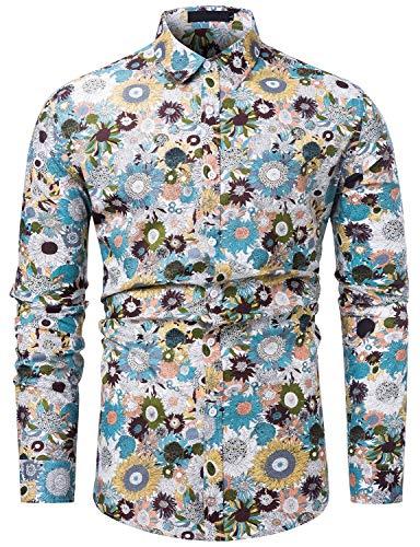 fohemr Herren Blumen Hemd Langarm Hawaii-Print Hemd Freizeithemd Mehrfarbig Button-Down Shirts 100% Baumwolle Beige Blumen Print Medium