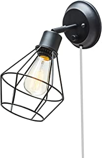Globe Electric 65291 Verdun 1-Light Plug-In or Hardwire Industrial Cage Wall Sconce, Matte Black Finish, On/Off Rotary Switch, 6ft Clear Cord