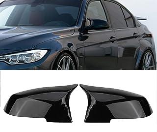 Ricoy schwarz glänzende Seitenspiegel Abdeckkappen für F20 F21 F87 M2 F23 F30 F36 X1 E84 M4 Ausführung (2er Packung)