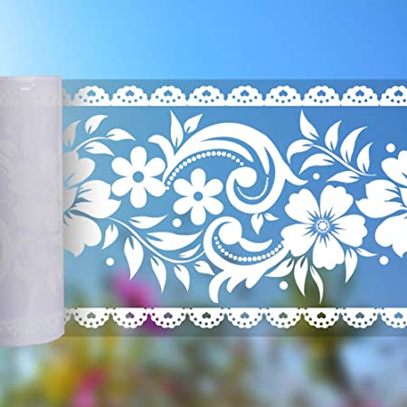 CLISPEED Lace Border Sticker Removable Peel and Stick Wallpaper Self Adhesive Wall Waist Line Decal for Wall Glass Window Door Home Decor DIY 10cm