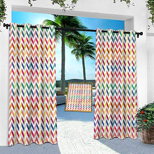 Patio Outdoor Curtain, Chevron,Geometrical Abstract Art, W 100' x L 108' Heavy Duty Indoor Panel for Porch Balcony Pergola Canopy Tent Gazebo Window(1 Panel)