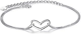 لي يي 925 الفضة الاسترليني سلسلة مزدوجة القلب سوار سلسلة قابلة للتعديل أساور مجوهرات هدايا للنساء