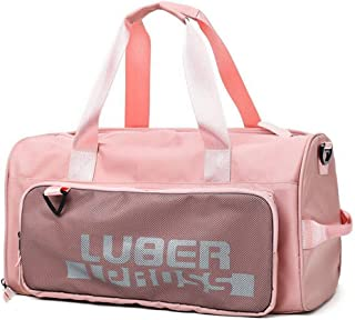 DIEBELLAU Travel Bag Portable Large Capacity Female Duffel Bag Fitness Bag Dry and Wet Separation Sports Yoga Bag (Color : Pink)