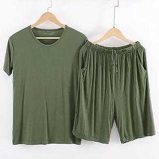 Modal Home Wear Men's Pajama Set Nightshirt Soft Cozy Sleepwear Summer Nightgown Nightwear Loungewear Short Sleeve Top And...