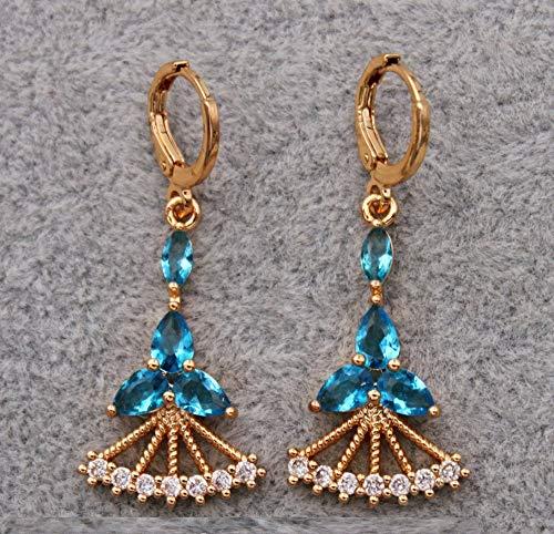 HoopsEarringsForWomen,Fashion Blue Sector Zircon Long Pendant Hoop Earrings Hypoallergenic Lightweight Hoop Ring Circle Jewelry Earrings For Women Girls Party Wedding