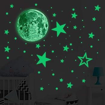 Leuchtsterne Wandsticker Leuchtaufkleber 435 Stuck Sticker Sterne Und Mond Fluoreszierend Leuchtaufkleber Geeignet Fur Schlafzimmer Kinderzimmer Sternenhimmel Aufkleber Amazon De Baby
