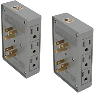 2pc ALAZCO Side Entry 6-Way Electrical Socket Outlet Splitter In-Wall Tap Adapter Behind Furniture Desk Small Spaces Travel