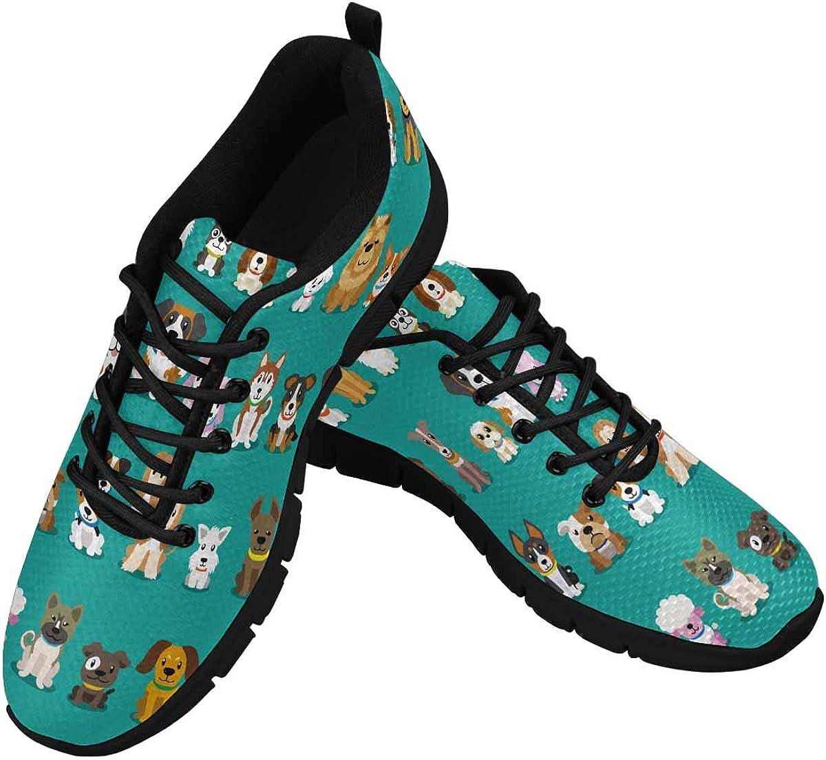 INTERESTPRINT Different Type of Cartoon Dogs Women Walking Shoes Comfortable Lightweight Work Casual Travel Sneakers
