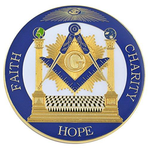"""Quadrado e bússola com coluna Fé Esperança Caridade maçônica Auto Emblema - [Azul e ouro] [Diâmetro de [3""""]"""