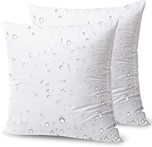 Phantoscope Premium Outdoor Pillow Inserts - Pack of 2 Square Form Water Resistant Decorative Throw Pillows Couch Sham Cushion Stuffer 18 x 18 inches