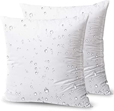 Phantoscope Premium Outdoor Pillow Inserts - Pack of 2 Square Form Water Resistant Decorative Throw Pillows Couch Sham Cushio