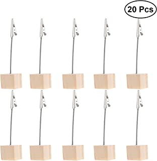 BESTOMZ 20 Piezas Memo Clip Portafotos Pinza Portanotas Soporte para Tarjetas de Mesa Titular de Número (Color Madera)