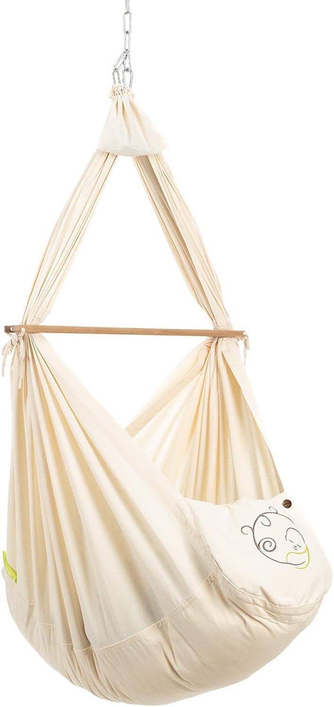 NONOMO Federwiege Baby Set Classic I Baby Hngematte I 100% Bio Baumwolle für Neugeborene und Babies bis 15 Kilo I mit Kunstfaser-Matratze und Deckenbefestigung