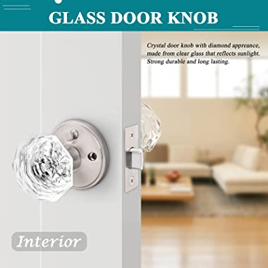 Orger 3 Pack Diamond Glass Door Knobs, Crystal Privacy Door Handles for Bedroom/ Bathroom, Interior Keyless Door Knobs with P