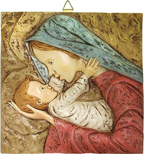 Ferrari & Arrighetti Cuadro de la Virgen María con el Niño Jesús en Resina Pintado a Mano - 26 x 26 cm - Bajorrelieve