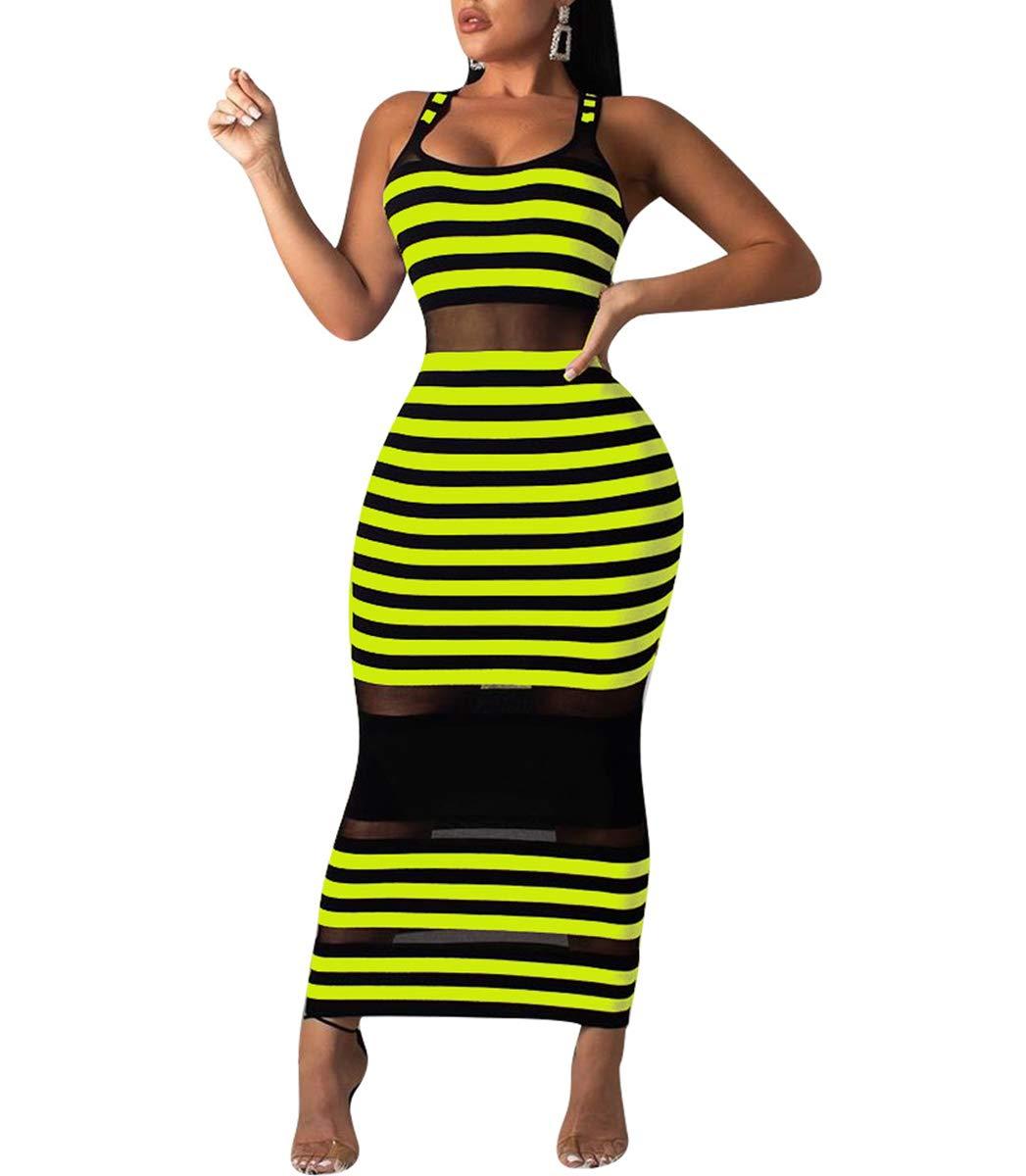 Available at Amazon: Ophestin Women's Sexy Bodycon Outfit - Sleeveless Stripe Print Summer Tanks Sheer Mesh Summer Beach Long Maxi Dress