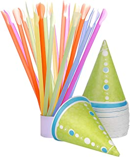 Hawaiian Shaved Ice 50-Count Paper Snow Cone Cups and Spoon Straws, Multi-Colored