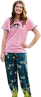 Lazy One WPP935 Womens Bearly Awake Blue and Black Cotton Pajama Pyjama Pant