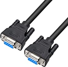 DTECH DB9 RS232 Serial Cable Female to Female Null Modem Cord Cross TX/RX line for Data Communication (5 Feet, Black)