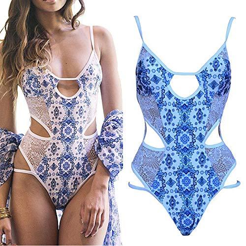 Cuello Halter Strapless Off Shoulder Bra Top Bikini,Traje de baño de una Pieza, Malla Sexy, Corbata de Bikini Sexy con Espalda Abierta-Medio