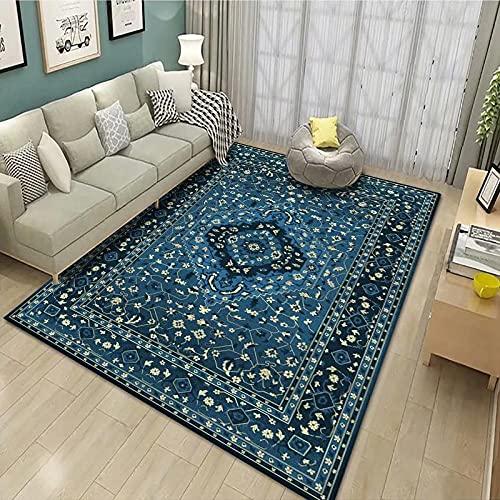 Kurzflor Wohnzimmer Teppich Home Moderner Teppich,Böhmen, Blau Teppich Hochflor Weich Flauschig Für Wohnzimmer Schlafzimmer 120X170 cm