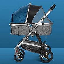 WWWANG Cochecito de bebé con función de rotación 360, silla de paseo con posición sentada y acostada, para viaje, cochecito de bebé, cochecito de bebé, paraguas para recién nacidos (color: azul)