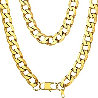 4-13MM Curb Mens Chain Necklace Stainless Steel/18K Gold Plated/925 Sterling Silver Flat Miami Cuban Link Necklace for Men Women, 18