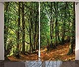 Royal Legacy Cortinas de Bosque, árboles con Escena de Bosque y senderos, follaje, Tronco, vegetación, Imagen al Aire Libre, Cortinas de Ventana, Juego de 2 Paneles, Verde marrón