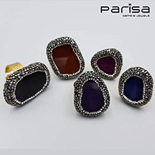 Ottoman Collection - Handmade gold plated rings with large Agate stone surrounded by beautiful silver and black Zirconia stones