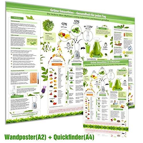 [2er Set] Grüne Smoothies Poster (DINA2) & Grüne Smoothies in 5 Minuten Schnellübersicht (DINA4) (2020): Die leckere Mini-Mahlzeit richtig zubereiten und bewusst genießen