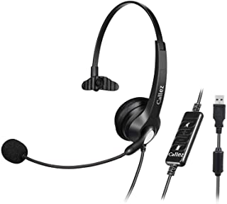 USB Headset with Microphone Noise Cancelling & Audio Controls, Wideband Computer Headphones for Business UC Skype Lync Sof...