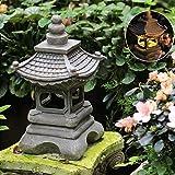 NGXL Asiatische Dekor Pagode Laterne Outdoor Statue,Solar Zen Garten Lichter Laterne Pagode Licht Solar Gartenlampe Heilig Solar Wasserdicht Skulptur Antiken Figurine,Grau