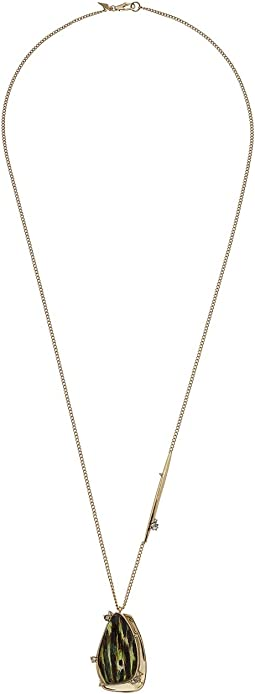 Alexis Bittar - Wood Grain Pendant with Satellite Crystal Detail Necklace