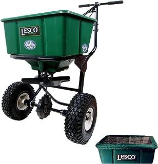 Lesco 50 Lb. Push Spreader 092807 with Hopper Cover (Bundle, 2 Items)