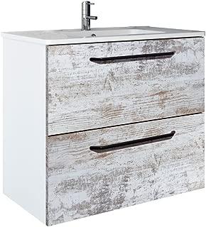 RANDALCO Modern Bathroom Floating Vanity Cabinet Set, Off - White Wood Looking Finish | 24 x 24 x 18 + Ceramic Top + Mirror | 2 drawers