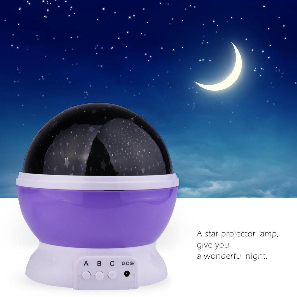 Lámpara de Noche,Sunvito Romántica Rotación de Estrellas Luna ...