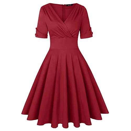 9c594b7ab42 ROOSEY Women s 1950s Vintage Deep V Neck Half Sleeve Retro Cocktail Swing  Dress