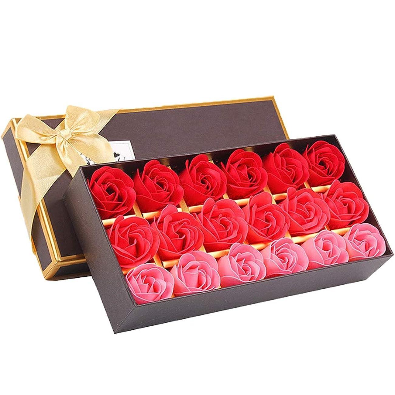 ミサイルボス無心18個の手作りのローズの香りのバスソープの花びら香りのバスソープは、ギフトボックスの花びらをバラ (色 : 赤)