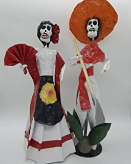 COLOR Y TRADICIÓN Mexican Catrina Doll Paper Mache Skull Figure Day of The Dead Handmade Art Couple Agave Large #1507