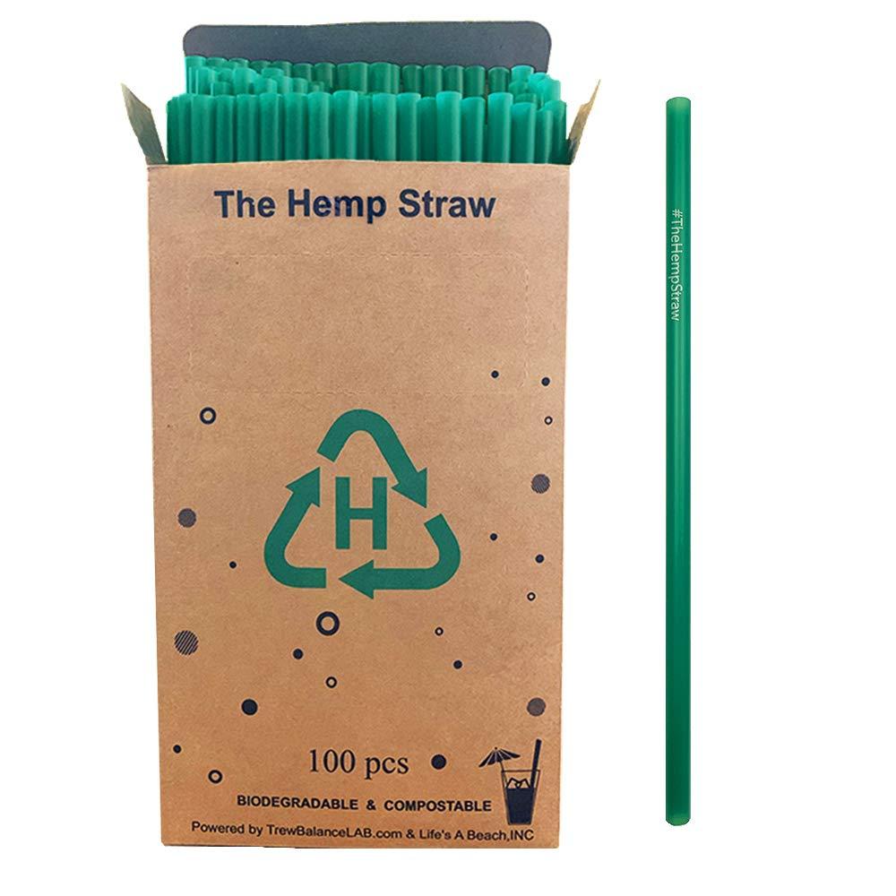 Pajita de cáñamo real + biodegradable y compostable (100 unidades ...
