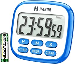 HABOR Kitchen Timer, 2 IN 1 Timer and Clock, 24-Hour Oven Timer and Clock for Kitchen with Loud Ring, Larger LCD Display and Countdown Countup Function, Retractable Stand and Hook and Magnetic Backing (Blue with Battery)