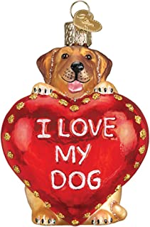 Old World Christmas I Love My Pet Glass Blown Ornament (Dog)