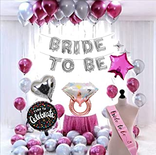 Soi Bride To Be Complete Decoration Combo For Bride Bachelorette Party Decoration Sash Star Heart Round Foil Balloons (Pac...